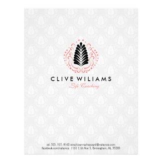 Stylized Pink Swirls & Black Feathers Modern Logo Letterhead