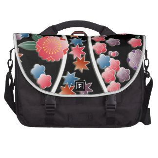 Stylized plum flowers on black japanese pattern commuter bags