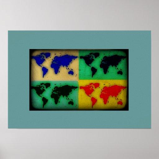 stylized pop art world map poster