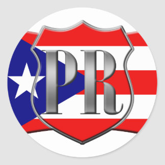 Stylized Puerto Rican Flag Round Stickers