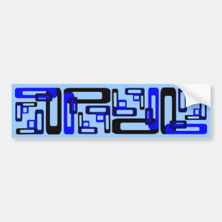 Stylized Rectangles Blue/Black Bumper Sticker