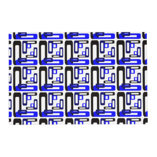 Stylized Rectangles Blue/Black Placemat