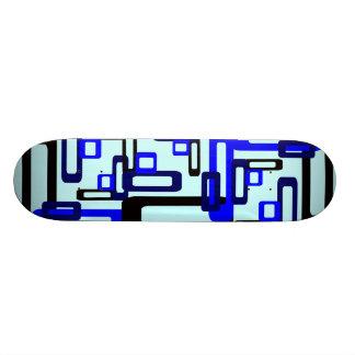 Stylized Rectangles Blue/Black Skateboard Deck