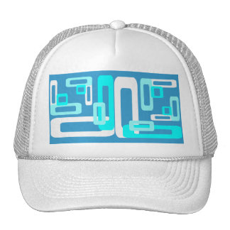 Stylized Rectangles Blue White Mesh Hat