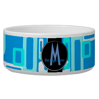 Stylized Rectangles Blue/White Dog Water Bowl