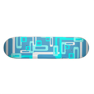 Stylized Rectangles Blue/White Skateboard Deck