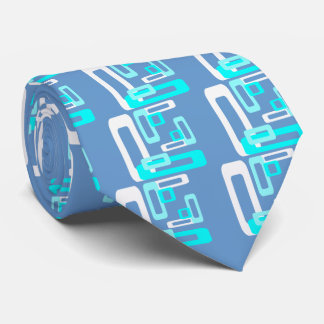 Stylized Rectangles Blue/White Tie