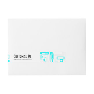 Stylized Rectangles Blue/White Wrap Around Address Label