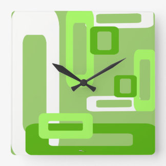 Stylized Rectangles Green/White Square Wall Clocks