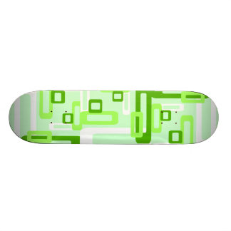Stylized Rectangles Green/White Skateboard