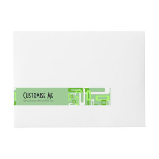Stylized Rectangles Green/White Wrap Around Address Label