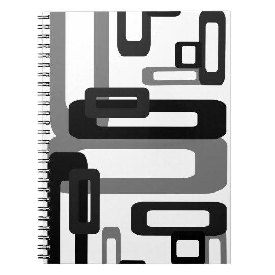 Stylized Rectangles Grey/Black Notebook