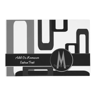Stylized Rectangles Grey/Black Placemat