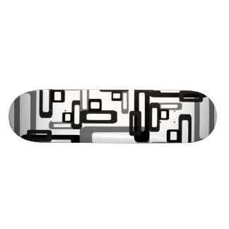 Stylized Rectangles Grey/Black Skateboard Deck