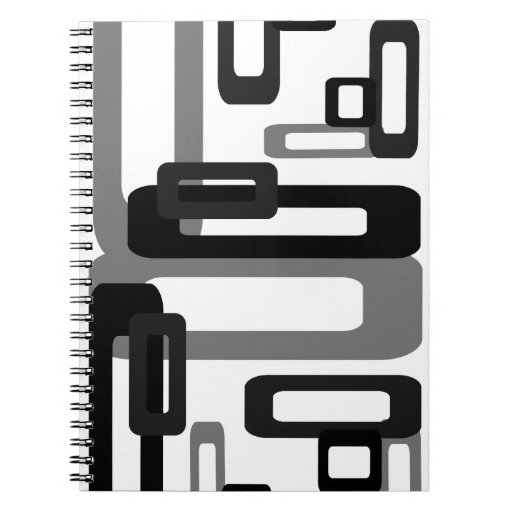 Stylized Rectangles Grey/Black Spiral Note Book