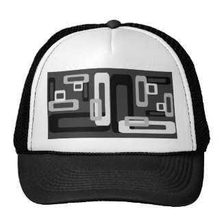 Stylized Rectangles Grey Black White Trucker Hats