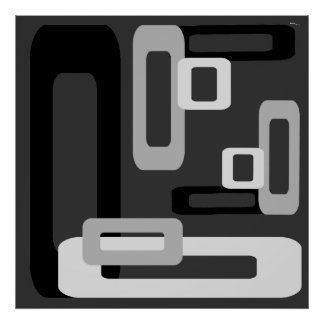 Stylized Rectangles Grey/Black/White Posters