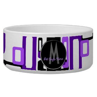 Stylized Rectangles Purple/Black (Monogram) Dog Food Bowl