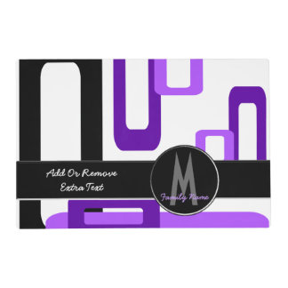 Stylized Rectangles Purple/Black (Monogram) Placemat