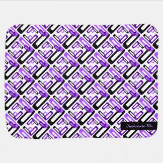 Stylized Rectangles Purple/Black Stroller Blanket