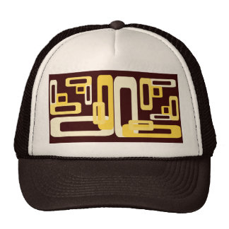 Stylized Rectangles Yellow Trucker Hat