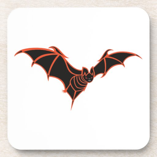 Stylized Red and Black Bat Drink Coaster