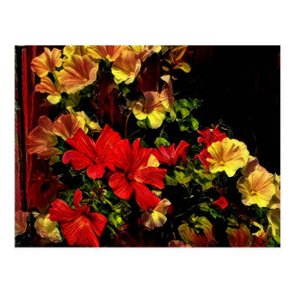 Stylized red and yellow flowers postcard