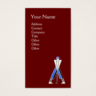 STYLIZED RED BLUE GOLFER,GOLF INSTRUCTOR MONOGRAM BUSINESS CARD