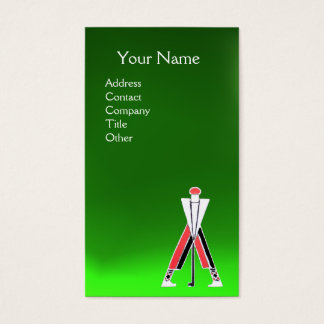 STYLIZED RED GOLFER,GOLF INSTRUCTOR MONOGRAM Green Business Card
