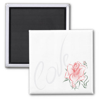 Stylized Red Rose and Love Refrigerator Magnets