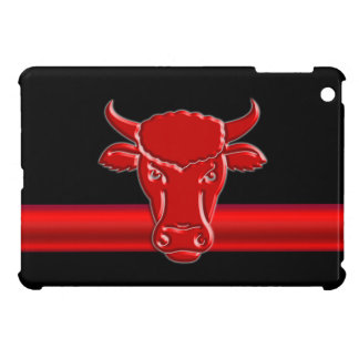 Stylized Red Taurus Bull Head on black Case For The iPad Mini