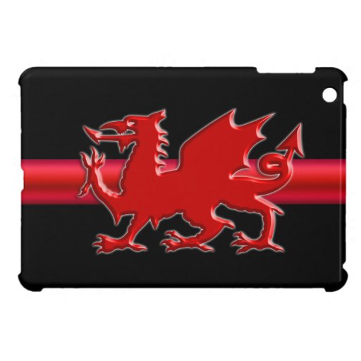 Stylized Red Welsh Dragon on black field Cover For The iPad Mini