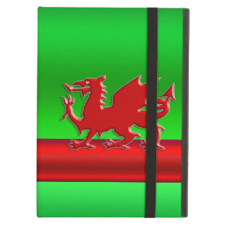 Stylized Red Welsh Dragon on green metallic effect iPad Air Cover