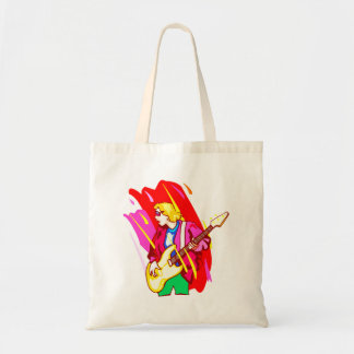 Stylized rock bass player graphic design image tote bag