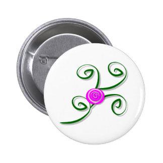 Stylized Rose and Swirls Button