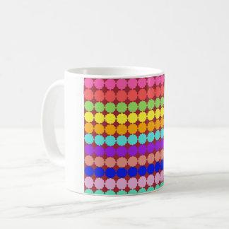 Stylized round flowers (white/dark background) coffee mug