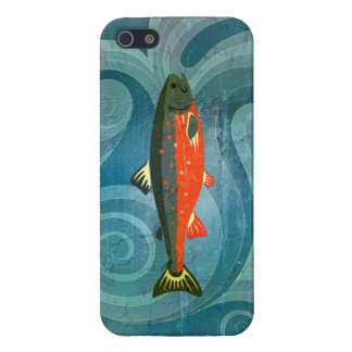 Stylized Salmon in Delicious Waves Case For iPhone SE/5/5s