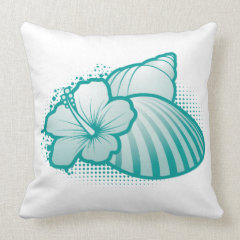 Stylized seashells 4 blue throw pillow