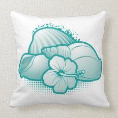Stylized seashells 6 blue pillows