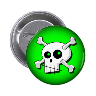 Stylized Skull Button (Green)
