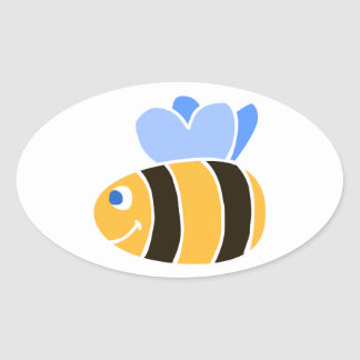 Stylized Smiling Cartoon Bumble Bee/Bumblebee Oval Sticker