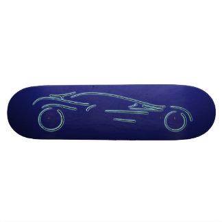 Stylized Sportscar - glowing blue neon auto design Skateboard Deck