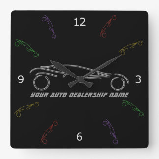 Stylized Sportscar - glowing neon auto shop design Square Wall Clock