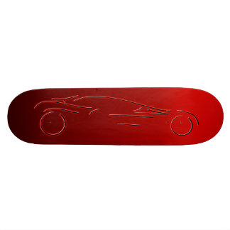 Stylized Sportscar - glowing red neon auto design Skateboard Deck