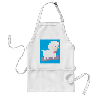 Stylized Square Shaped Cartoon Sheep with Bow Tie Apron
