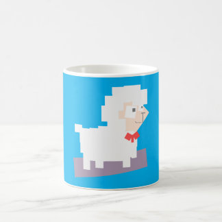 Stylized Square Shaped Cartoon Sheep with Bow Tie Mug