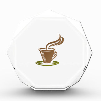 Stylized Steaming Hot Coffee Cup on a Green Saucer Acrylic Award