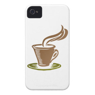 Stylized Steaming Hot Coffee Cup on a Green Saucer Case-Mate iPhone 4 Case