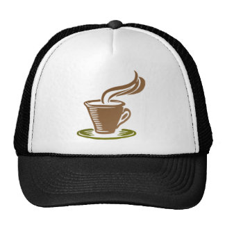 Stylized Steaming Hot Coffee Cup on a Green Saucer Mesh Hat