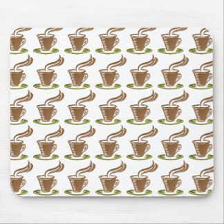 Stylized Steaming Hot Coffee Cup on a Green Saucer Mousepads
